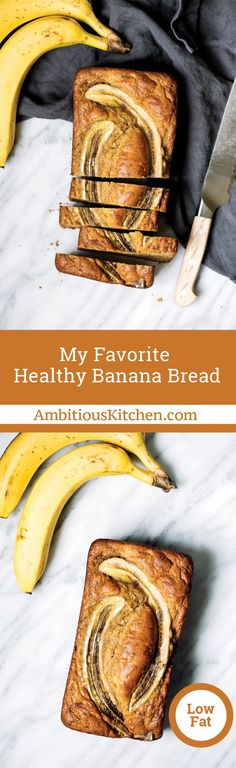 Amazing low fat healthy banana bread made with whole wheat flour, coconut oil, protein packed greek yogurt and naturally sweetened with a touch of pure maple syrup. Everyone loves this bread because it can easily be made into muffins too! Best Healthy Banana Bread Recipe, Banana Bread Recipes, Healthy Baking, Healthy Treats, Healthy Desserts, Whole Wheat Banana Bread, Breakfast On The Go, Sans Gluten, Food To Make
