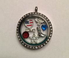 America Gone Country Patriotic Living Locket like Origami Owl  Only $24.99 after coupon at Bee's!