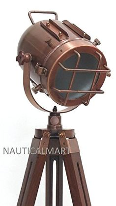 Antique Nautical Floor Lamp W/Black Wooden Tripod Marine Replica Search Light. A fantastic nautical marine search signal lamp on a teak wood tripod. Hand crafted stunning designer nautical search light with special teak wood tripod stand. Art Furniture, Industrial Furniture, Vintage Industrial, Outdoor Floor Lamps, Outdoor Flooring, Best Outdoor Solar Lights, Nautical Lamps, Diy Light Fixtures, Barn Wood Projects