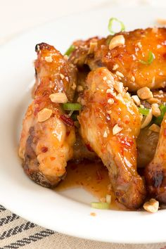 Sweet Chili Baked Chicken Wings Recipe ...sweet sticky with a little crunch!