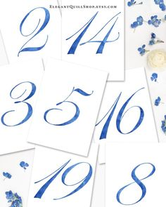 Simple and elegant our watercolor royal blue table numbers are perfect for a beach or lakeside wedding. Provided as a digital file for instant access. Click through to see more! #beachwedding #bluewedding #lakesidewedding #royalblue #tablenumbers Wedding Weekend, Budget Wedding, October Wedding, Beach Watercolor, Watercolor Wedding, Lakeside Wedding, Dusty Blue Weddings, Beach Wedding Decorations, Wedding Table Numbers