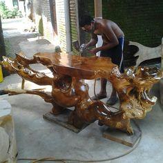 proses finishing meja console table by Quimba Jaya