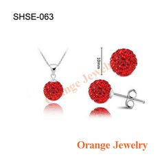 Fashion Crystal Set Disco Crystal Ball Pendant Necklace+Stud Earrings+Silver Chains Mix - FREE! - Nonpareil Jewelry  - 1