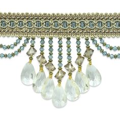"""The genuine Isabella beaded trim measures approximately 4"""" from the top of the stitched gimp to the bottom of the longest beaded strand. The stitched gimp is approximately 1"""" in width and the longest beaded strand is approximately 3 1/2"""" in length. The beaded strands are separated by scalloped beads approximately 2"""" apart.Contents69% Polyester, 19% Rayon, 2% Other Fiber, 10% AcrylicCare..."""