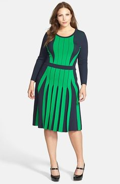 MICHAEL Michael Kors Colorblock Pleated Fit & Flare Sweater Dress (Plus Size) available at #Nordstrom