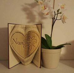Nan in a heart with Lily cut and fold combi book folding pattern 499 pages by BookFoldingForever on Etsy