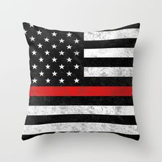 Click photo to buy this throw pillow on Etsy, also available on apparel (leggings, t shirts & more.)  Firefighter. Firefighters. Support. The Thin Red Line. FDNY. Firefighter wife. America. USA.