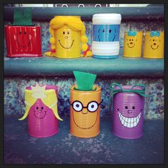 Mr Men & Little Miss upcycled tin can decorations for my daughter's first birthday party - Little Miss Sunshine theme ☀️