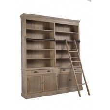 LIBRARY/BOOKCASE WITH LADDER Library Shelves, Ladder Bookcase, Plank, Storage Spaces, In The Heights, Living Spaces, Living Room, Drawers, The Unit