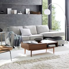 Henry® 2-Piece Pull-Down Full Sleeper Sectional w/ Storage | west elm Sleeper Sectional, Brown Sectional, Brown Couch, Modern Sectional, Recliner, Walnut Coffee Table, Coffee Table With Storage, Coffee Tables, Sofa Furniture
