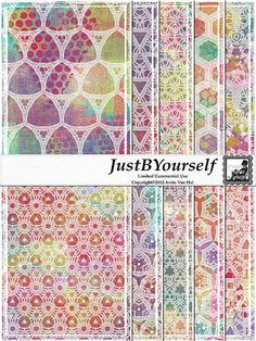 Printable Art Journal Pages Abstract Doily; 10 patterns on digitally painted pages in turquoise, lime green, yellow, orange, pink, and purple by JustBYourself, limited commercial use okay