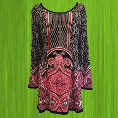 • 90s sweater dress • black, white and hot pink • particularly flattering layout of patterns • incredibly soft! • 100% rayon • size L • shoulder: 16 • bust: 38 (with stretch) • sleeve: 24 • length: 30 • originally $45   such a soft cozy sweater dress - love the colors and the patterns; literally, just add tights!   ❉ ❉ ❉  check out www.instgram.com/vintish.nyc for perfect post-90s items, as well!  ❉ ❉ ❉  as with all vintage items, expect some wear. i inspect everything to make sure its j...
