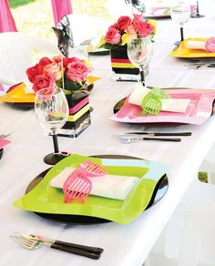 Gotta love the theme place setting for the Totally Rad Bridal Shower (Neon & Lace). We'd probably have to find you a replacement neon windbreaker. Eighties Party, 80s Party, Party Time, Retro Party, 80s Birthday Parties, Pink Birthday, Theme Parties, 50th Birthday, Wedding Favors Cheap