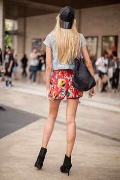 topshop:  Flower power! We love the floral print on these sporty shorts.
