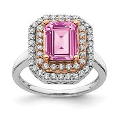 14k Two-Tone Lab Grown Diamond and Created Pink Sapphire Ring / STYLE: RM7504-CPS-062-WRLG