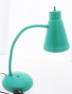 Salvaged Vintage Gooseneck Retro Desk Lamp Table Mid Century Modern Refurbished Turquoise Art