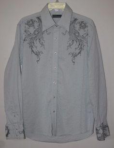 7 Diamonds Long Sleeve Button Front Shirt Large Light Blue Patterned L #7Diamonds #ButtonFront #MensFashion