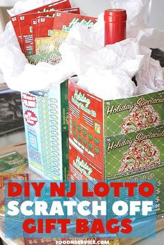 Enjoy this Nj Lotto Holiday Games Scratch off ticket DIY Gift Bag! It's so super easy to do and everyone loves have a bag full of luck! Lottery Ticket Tree, Lottery Ticket Christmas Gift, Diy Christmas Gifts, Christmas Music, Christmas Ideas, Holiday Ideas, Christmas Wrapping, Christmas Desserts, Christmas Baking