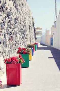 Fira, capital de Santorini (Grécia).