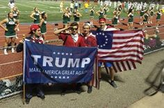 Students flying Trump, Betsy Ross flags at football game accused of 'racism and intimidation' - http://conservativeread.com/students-flying-trump-betsy-ross-flags-at-football-game-accused-of-racism-and-intimidation/