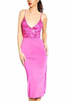 Savee Couture Floral Mesh Midi Dress