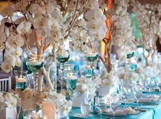 Tiffany Blue is such a gorgeous color. When I think of a tiffany blue wedding I automatically pair it with bling! Here are a few of my favor. Manzanita Centerpiece, Branch Centerpieces, Blue Wedding Centerpieces, Orchid Centerpieces, White Centerpiece, Reception Decorations, Manzanita Branches, Centrepieces, Table Arrangements