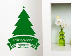 """Image of 20×30cm - Árbol Prospero año Vinilo de medida 20 × 30 cm, con ilustración de árbol y la frase """"feliz navidad y próspero año nuevo"""", colección Navidad. Disponible en diferentes colores, puedes verlos en nuestro color chart adjunto en las imágenes."""