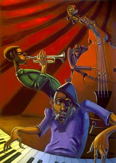 Jazz Trio print by Justin Bua. A BUA classic, this quintessential cast has been jammin' for years. Artist: Justin Bua Edition Type: Open Edition Media: Poster Size: x Unframed African American Artwork, African Art, Jazz Painting, Photo Lovers, Jazz Poster, Print Poster, Jazz Art, Jazz Music, Black Art Pictures