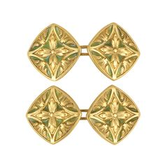 Pair of Art Nouveau Gold and Green Plique-a-Jour Enamel Cufflinks   18 kt., with maker's mark, c. 1900.