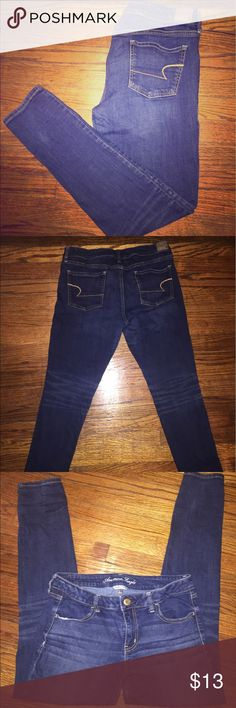 American Eagle Stretch Jeans Size 14 American Eagle Stretch Jeans, size 14, long style. I'm 5'5 and length was perfect for me, personally. Could roll the bottom, if need be. Straight legged. No distressing. Medium wash. Very comfortable and easy to wear with any top! Nice and easy to tuck boots into during the winter. Previously owned. *All offers considered. American Eagle Outfitters Jeans Straight Leg