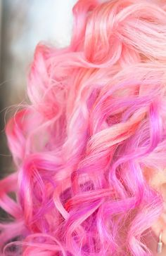 I have curls like this today. That would be incredibly cool if they were pink!!! Bebe'!!! Beautiful for a change...shades of pink!!!