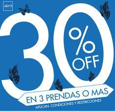 PRENDAS O MAS llévalas con el 30% Lleva 2 prendas con el 20% de descuento y 1 prenda con el 10% de descuento. vive tu estilo #viveABRIL www.tiendasabril.com