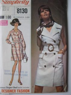 Vintage 1969 Uncut Factory Folded Pattern Miss Jacket Dress Bust 36