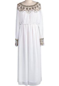 White Long Sleeve Bead Pleated Chiffon Dress JPY¥6117