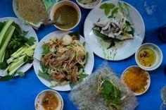 Seafood dinner - raw smelt, calamari, Phan Thiet, Vietnam