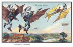 Flying Police in the Year 2000, French Postcard from 1899