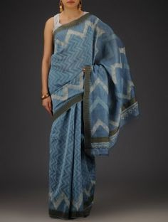 Steel Blue-Ivory Silk Cotton Chanderi Bagru Printed with Ghicha Border Saree