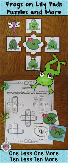 This frog themed resource provides practice or review for the concept of one less/ more and ten less/ more for numbers 0-120. $ Grades 1-2