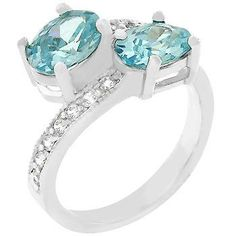 White Gold Rhodium Bonded Pave Set Clear Round CZ Band with a Pair of Oval Aqua CZ in Silvertone. #mycustommade