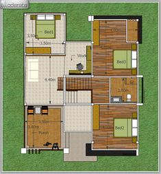 This modern style, half floor home has a unique style. It is distinctive in shape. Home Modern, Modern House Plans, Modern House Design, Two Story House Plans, Dream House Plans, Beautiful House Plans, 2 Storey House, Home Design Floor Plans, Brick Accent Walls