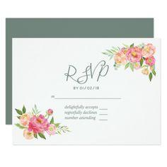 Spring Wedding watercolor Peonies RSVP Card - invitations custom unique diy personalize occasions