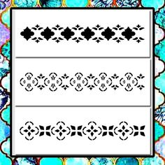 Lot/Set 3 MOROCCAN/Floral Border Patterns 4 X 11 STENCILS Paint/Airbrush/Craft #TheCrafteeDragon