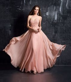 Preorder Nina Canacci 1300 Peach Strapless Sweetheart Embellished Chiffon Gown For Prom 2017
