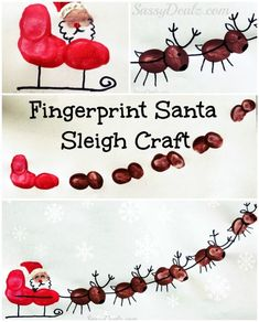 Santa's Sleigh w/ Flying Reindeer Fingerprint Craft For Kids #Santa paint art project #Christmas craft for kids | CraftyMorning.com by summer