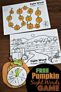 FREE Pumpkin Sight Words Game - fun, hands on reading game to help kindergartners practice primer sight words with a fun fall themed activity Kindergarten Sight Word Games, Teaching Sight Words, Sight Word Activities, Kindergarten Worksheets, Sight Word Worksheets, Preschool Kindergarten, Reading Games, Reading Centers, Reading Fluency