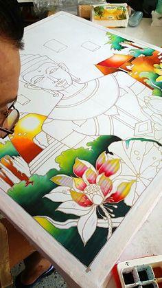 Batit Tree Watercolor Painting, Buddha Painting, Buddha Art, Fabric Painting, Painting Frames, Madhubani Art, Madhubani Painting, Indian Traditional Paintings, Batik Art