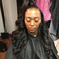 body wave wig can make a Half Up Half Down look!Click my bio … - Black Girl Hair Styles Ponytail Styles, Ponytail Hairstyles, Weave Hairstyles, Straight Hairstyles, Curly Hair Styles, Natural Hair Styles, Prom Hairstyles, Black Hairstyles, Side Ponytails