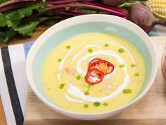 Sweet Corn Summer Gazpacho recipe from Jeff Mauro via Food Network. Making this for dinner! Yummy!