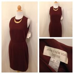 NWT JONES NEW YORK Brown Sleeveless Fully Lined Back Button Wiggle Dress 10