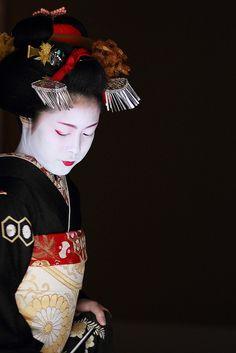 Satoharu who debuted as a maiko (apprentice geisha) in the Miyagawa-cho district November 2009 in Kyoto, Japan.